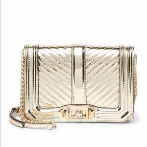 Rebecca Minkoff chevron quilted crossbody bag gold